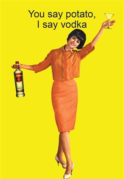 Birthday funky quirky unusual modern cool card cards greetings greeting original classic wacky contemporary art illustration fun funny vintage retro alcohol vodka retro lady kiss-me-kwik potato
