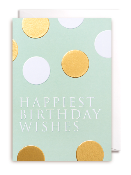 Lagom spots gold happiest birthday wishes funky quirky unusual modern cool card cards greetings greeting original classic wacky contemporary art illustration fun