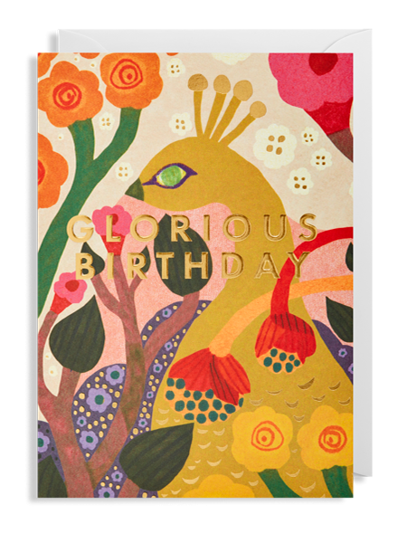 glorious birthday peacock Lagom Monika-forsberg funky quirky unusual modern cool card cards greetings greeting original classic wacky contemporary art illustration fun