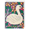 Lagom swan happy birthday Monika-forsberg funky quirky unusual modern cool card cards greetings greeting original classic wacky contemporary art illustration fun