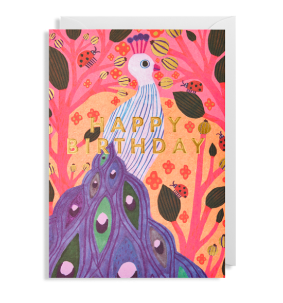 funky quirky unusual modern cool card cards greetings greeting original classic wacky contemporary art illustration fun peacock Lagom birthday