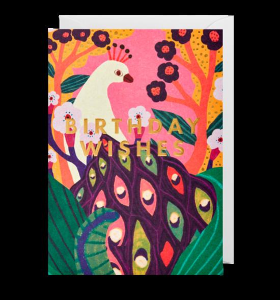 funky quirky unusual modern cool card cards greetings greeting original classic wacky contemporary art illustration fun birthday wishes peacock Lagom Monika-forsberg
