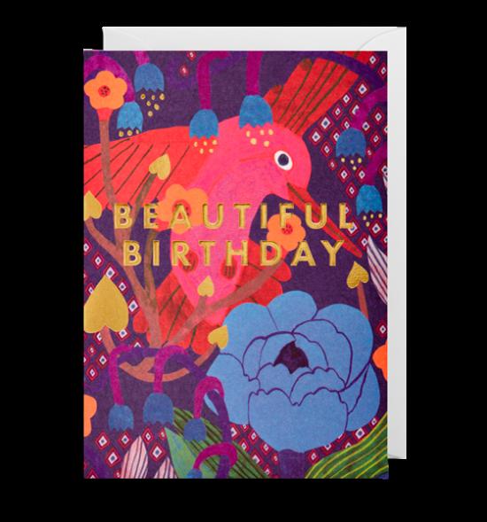 birthday bird hummingbird beautiful funky quirky unusual modern cool card cards greetings greeting original classic wacky contemporary art illustration fun Monika-Forsberg Lagom