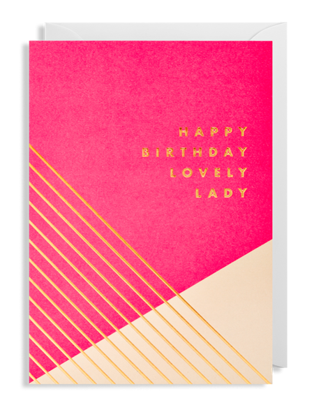 happy birthday lovely lady birthday Lagom postco funky quirky unusual modern cool card cards greetings greeting original classic wacky contemporary art illustration fun pink gold