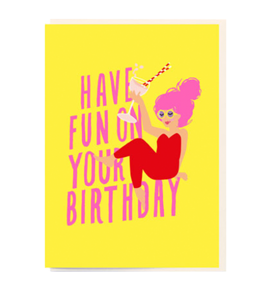 Birthday funky quirky unusual modern cool card cards greetings greeting original classic wacky contemporary art illustration fun vintage retro noi cocktail lady birthday cartoon