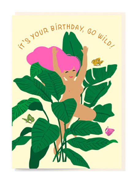 Birthday funky quirky unusual modern cool card cards greetings greeting original classic wacky contemporary art illustration fun vintage retro nudie noi lady leaves birthday cartoon naked