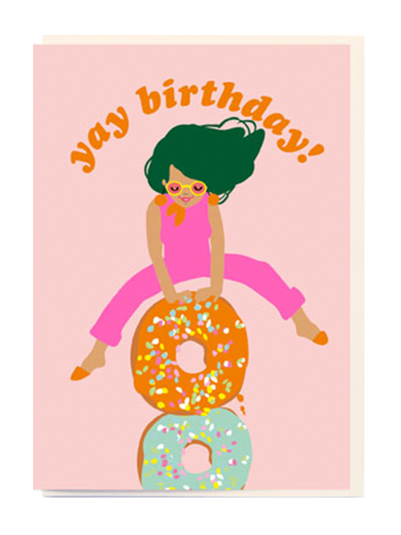 noi birthday girl doughnuts yay Birthday funky quirky unusual modern cool card cards greetings greeting original classic wacky contemporary art illustration fun vintage retro