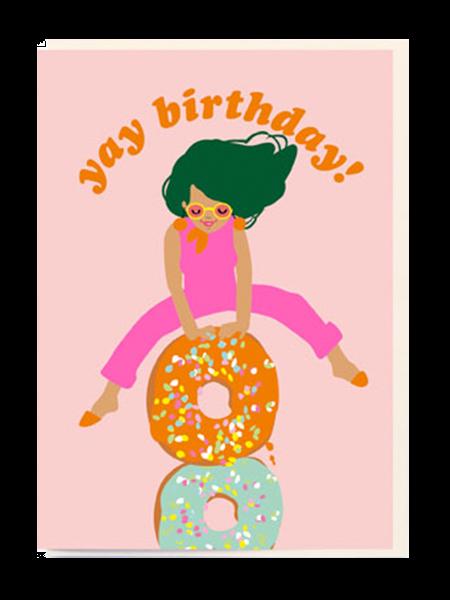 noi birthday girl doughnuts yay Birthday funky quirky unusual modern cool card cards greetings greeting original classic wacky contemporary art illustration fun vintage retro