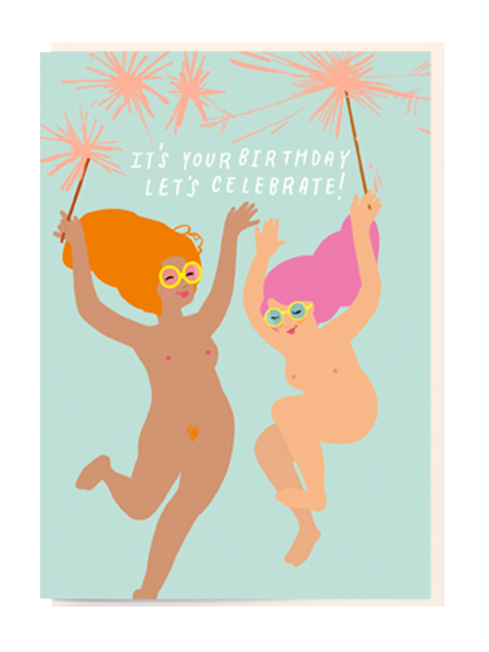 Birthday funky quirky unusual modern cool card cards greetings greeting original classic wacky contemporary art illustration fun vintage retro nudie sparklers noi naked ladies fireworks glasses
