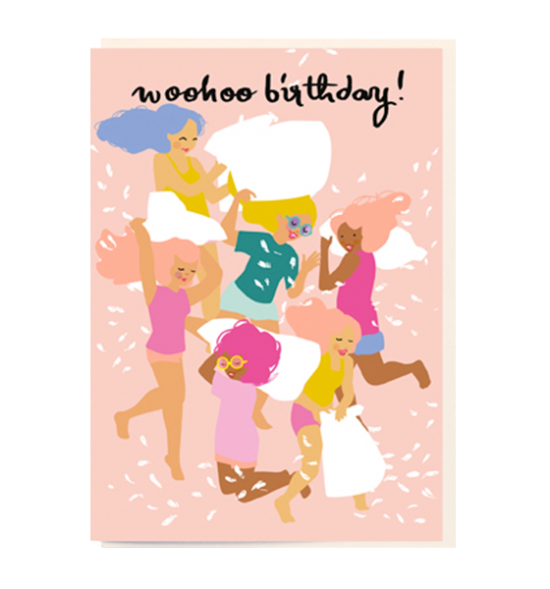Birthday funky quirky unusual modern cool card cards greetings greeting original classic wacky contemporary art illustration fun vintage retro noi girls pillow fight birthday woohoo