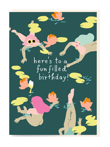 Birthday funky quirky unusual modern cool card cards greetings greeting original classic wacky contemporary art illustration fun vintage retro noi naked ladies wild swimming birthday cartoon fun