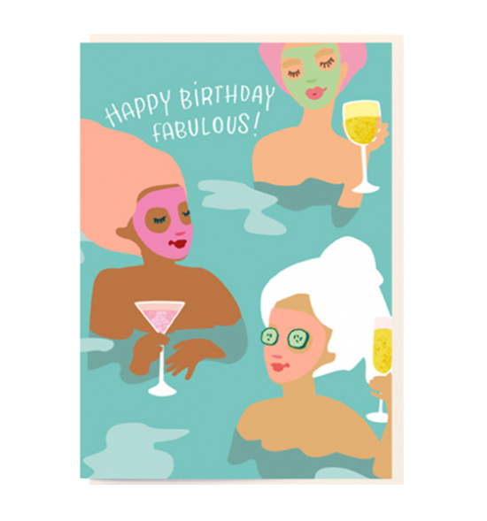 Birthday funky quirky unusual modern cool card cards greetings greeting original classic wacky contemporary art illustration fun vintage retro noi fabulous ladies spa cocktails