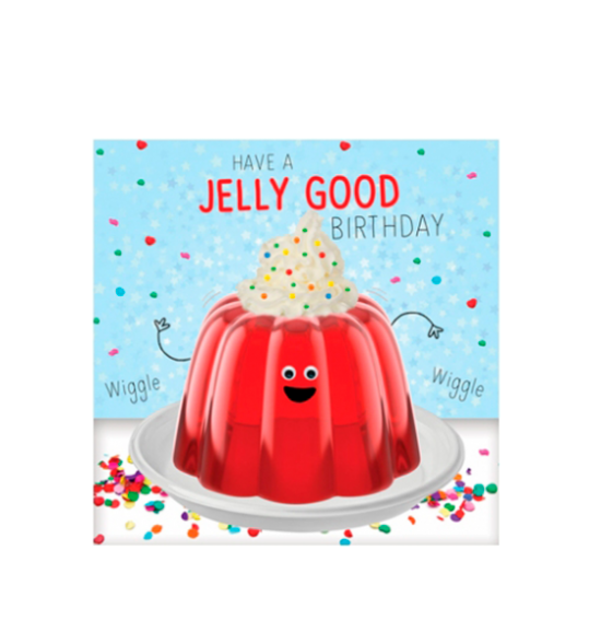 Birthday funky quirky unusual modern cool card cards greetings greeting original classic wacky contemporary art illustration fun vintage retro fluff googly eyes googlies tracks jelly wiggle
