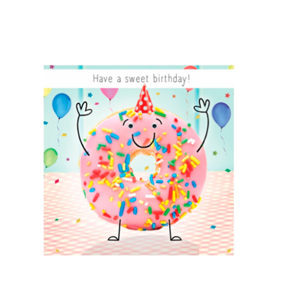 Birthday funky quirky unusual modern cool card cards greetings greeting original classic wacky contemporary art illustration fun vintage retro fluff googly eyes googlies tracks sweet doughnut