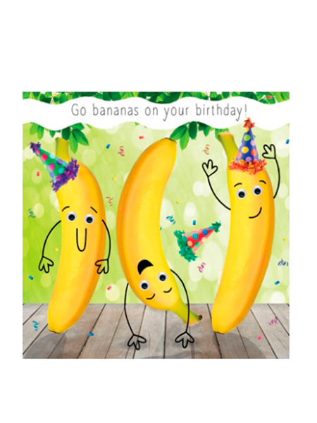 Birthday funky quirky unusual modern cool card cards greetings greeting original classic wacky contemporary art illustration fun vintage retro fluff googly eyes googlies tracks bananas