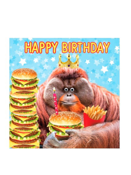 Birthday funky quirky unusual modern cool card cards greetings greeting original classic wacky contemporary art illustration fun vintage retro fluff googly eyes googlies tracks orangutan monkey burger