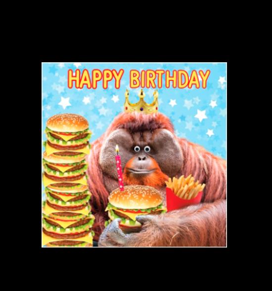 Birthday funky quirky unusual modern cool card cards greetings greeting original classic wacky contemporary art illustration fun vintage retro fluff googly eyes googlies tracks orangutan monkey burger