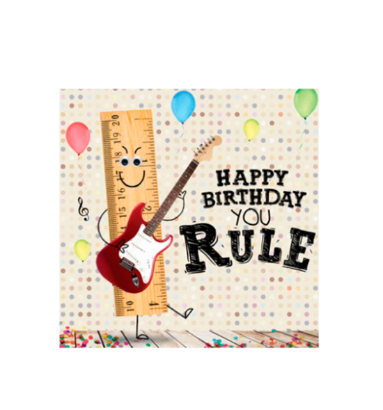 Birthday funky quirky unusual modern cool card cards greetings greeting original classic wacky contemporary art illustration fun vintage retro fluff googly eyes googlies tracks you rule ruler guitar