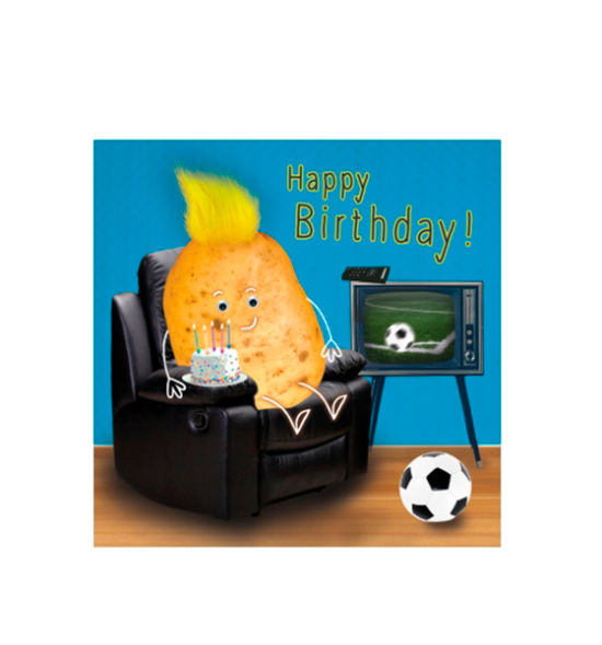 Birthday funky quirky unusual modern cool card cards greetings greeting original classic wacky contemporary art illustration fun vintage retro fluff googly eyes googlies tracks couch potato tv football cake happy