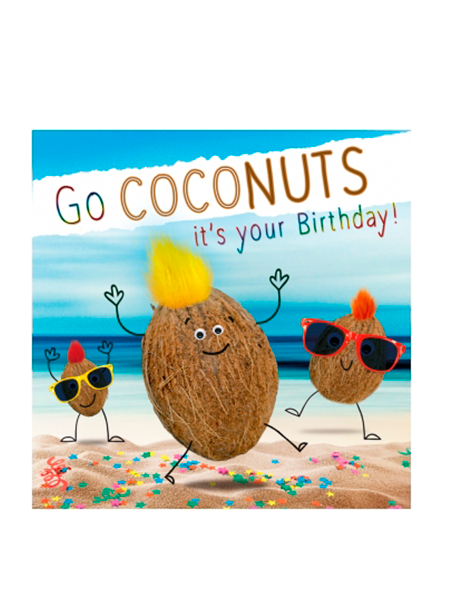 Birthday funky quirky unusual modern cool card cards greetings greeting original classic wacky contemporary art illustration fun vintage retro fluff googly eyes googlies tracks coconuts