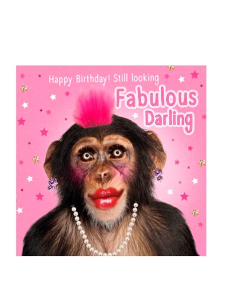 Birthday funky quirky unusual modern cool card cards greetings greeting original classic wacky contemporary art illustration fun vintage retro fluff googly eyes googlies tracks chimp monkey makeup