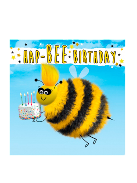Birthday funky quirky unusual modern cool card cards greetings greeting original classic wacky contemporary art illustration fun vintage retro fluff googly eyes googlies tracks bee happy cake
