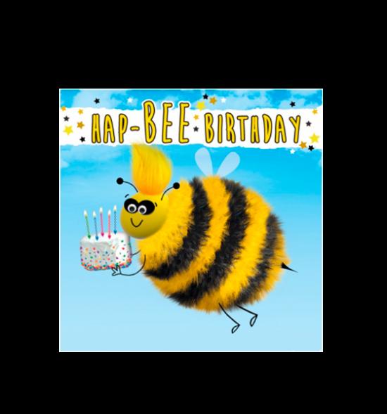 Birthday funky quirky unusual modern cool card cards greetings greeting original classic wacky contemporary art illustration fun vintage retro fluff googly eyes googlies tracks bee happy cake