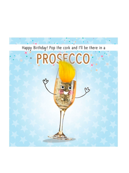 Birthday funky quirky unusual modern cool card cards greetings greeting original classic wacky contemporary art illustration fun vintage retro fluff googly eyes googlies tracks prosecco wine