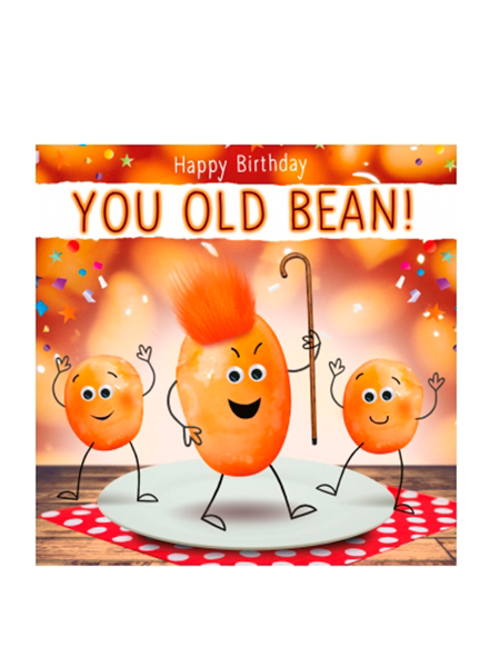 Birthday funky quirky unusual modern cool card cards greetings greeting original classic wacky contemporary art illustration fun vintage retro fluff googly eyes googlies tracks beans old bean