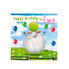 Birthday funky quirky unusual modern cool card cards greetings greeting original classic wacky contemporary art illustration fun vintage retro fluff googly eyes googlies tracks sheep ewe happy