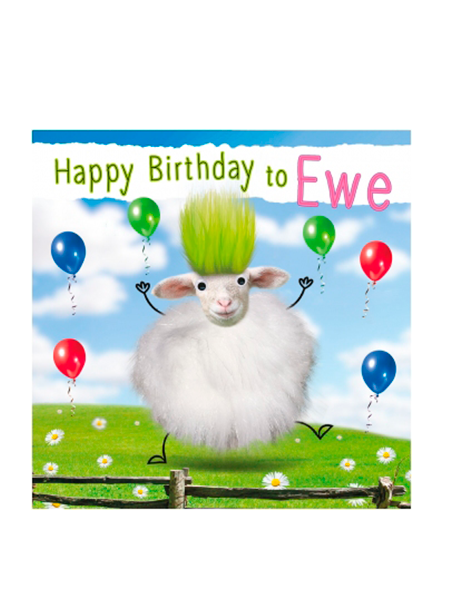 Birthday funky quirky unusual modern cool card cards greetings greeting original classic wacky contemporary art illustration fun vintage retro fluff googly eyes googlies tracks sheep ewe happy