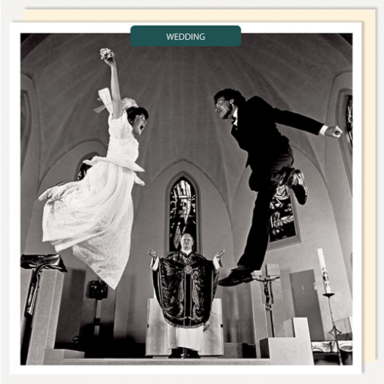 bride groom jumping funny wedding u-studio photographic wedding congratulations funky quirky unusual modern cool card cards greetings greeting original classic wacky contemporary art fun vintage retro funny
