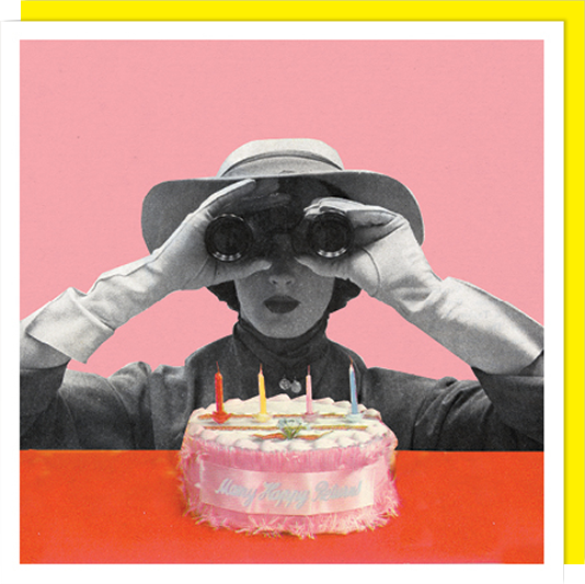 Birthday funky quirky unusual modern cool card cards greetings greeting original classic wacky contemporary art illustration fun vintage retro funny let-rip funny birthday lady birthday cake binoculars U-Studio retro vintage