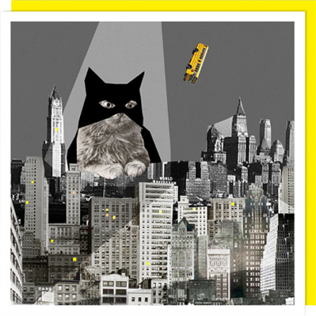 Birthday funky quirky unusual modern cool card cards greetings greeting original classic wacky contemporary art illustration fun vintage retro funny let-rip batman bat cat U-Studio collage city