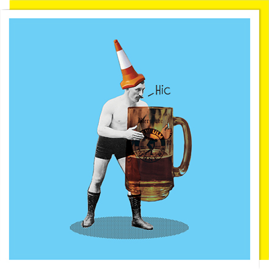 retro man beer hiccup cone head U-Studio Birthday funky quirky unusual modern cool card cards greetings greeting original classic wacky contemporary art illustration fun vintage retro funny let-rip
