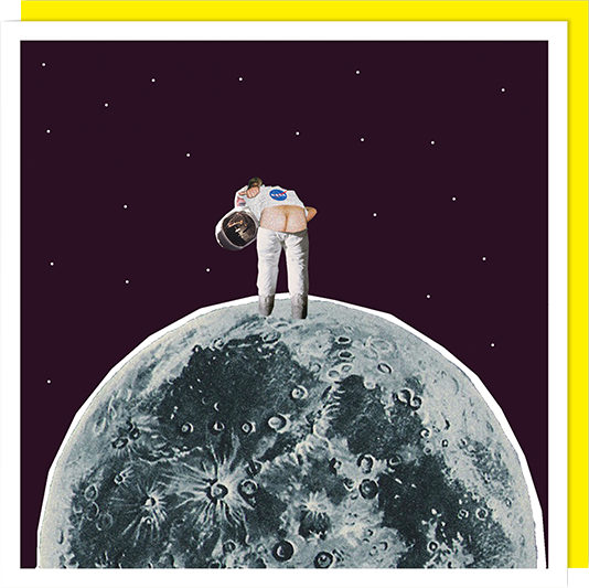 Birthday funky quirky unusual modern cool card cards greetings greeting original classic wacky contemporary art illustration fun vintage retro funny let-rip bum moon spaceman astronaut U-Studio collage