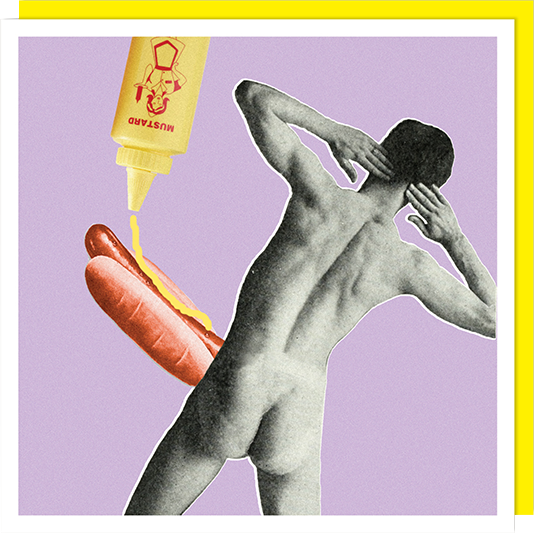 Birthday funky quirky unusual modern cool card cards greetings greeting original classic wacky contemporary art illustration fun vintage retro funny let-rip hotdog willy rude man U-Studio retro collage