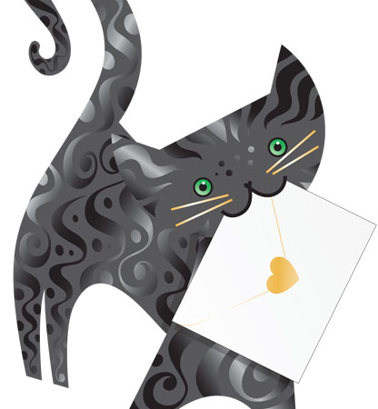 funky quirky unusual modern cool card cards greetings greeting original classic wacky contemporary art photographic fun vintage retro lucky cut-out 3D special delivery grey cat