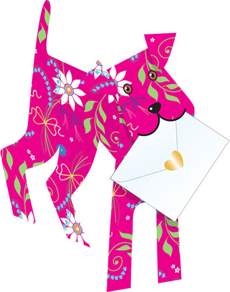 funky quirky unusual modern cool card cards greetings greeting original classic wacky contemporary art photographic fun vintage retro joli 3D cut-out dog special-delivery pink