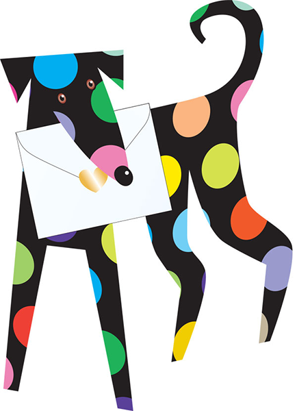 funky quirky unusual modern cool card cards greetings greeting original classic wacky contemporary art photographic fun vintage retro spots 3D cut-out spotty dog special-delivery