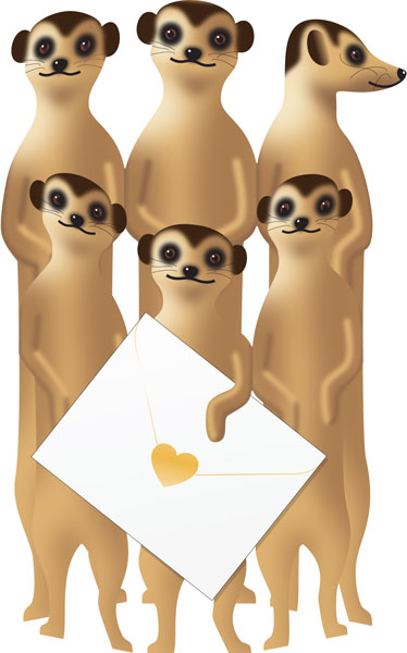 funky quirky unusual modern cool card cards greetings greeting original classic wacky contemporary art photographic fun vintage retro 3D cut-out special-delivery meerkat