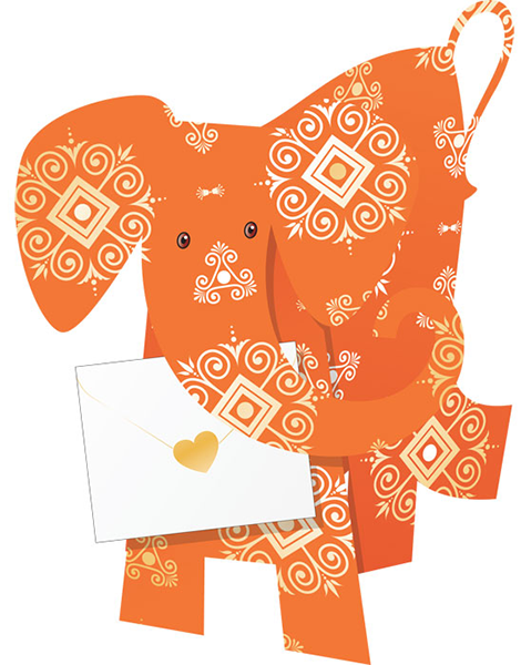 funky quirky unusual modern cool card cards greetings greeting original classic wacky contemporary art photographic fun vintage retro afra 3D elephant cut-out special-delivery
