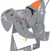 funky quirky unusual modern cool card cards greetings greeting original classic wacky contemporary art photographic fun vintage retro jem 3D cut-out special-delivery elephant
