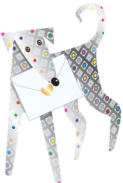 funky quirky unusual modern cool card cards greetings greeting original classic wacky contemporary art photographic fun vintage retro 3D cut-out special-delivery dog greyhound Jules