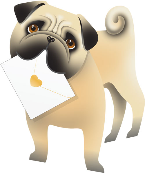 funky quirky unusual modern cool card cards greetings greeting original classic wacky contemporary art photographic fun vintage retro monty 3D cut-out special-delivery pug dog