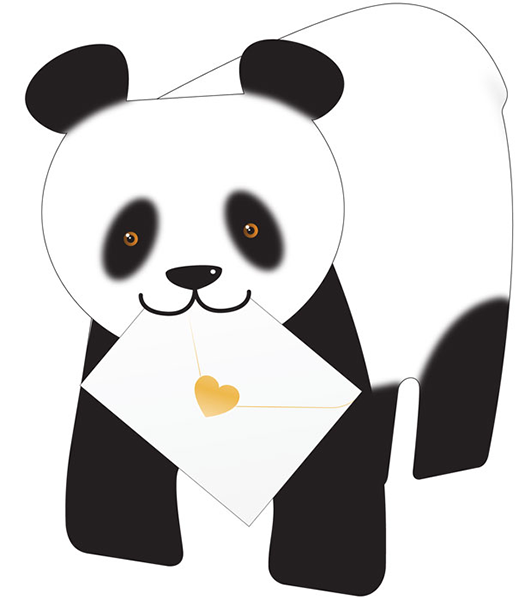 funky quirky unusual modern cool card cards greetings greeting original classic wacky contemporary art photographic fun vintage retro bamboo 3D panda cut-out special-delivery