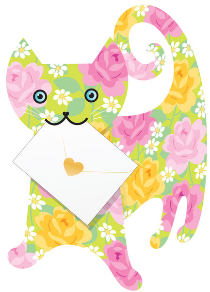 funky quirky unusual modern cool card cards greetings greeting original classic wacky contemporary art photographic fun vintage retro rose 3D special-delivery cut-out cat