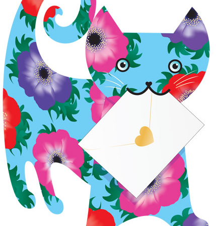 funky quirky unusual modern cool card cards greetings greeting original classic wacky contemporary art photographic fun vintage retro 3D cut-out cat Emma special-delivery