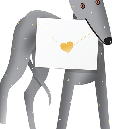 funky quirky unusual modern cool card cards greetings greeting original classic wacky contemporary art photographic fun vintage retro shadow 3D cut-out greyhound dog special-delivery