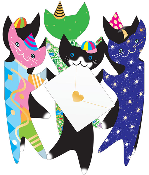 funky quirky unusual modern cool card cards greetings greeting original classic wacky contemporary art photographic fun vintage retro 3D cut-out cats party cat special-delivery